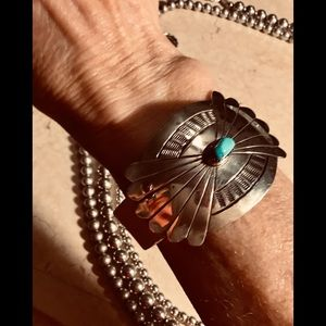 GENUINE TURQUOISE SILVER CONCHO LEATHER BRACELET